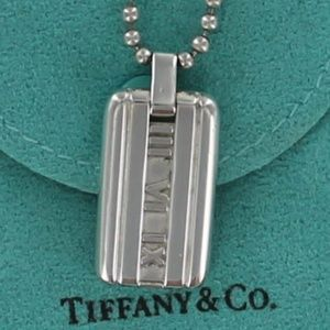 Tiffany Roman Numeral Atlas Dog Tag Necklace